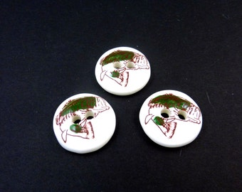 "3 LARGE handmade Ceramic Fish or Large Mouth Bass Sewing Buttons.  1"" or 2.5 cm round.  Chunky Buttons."