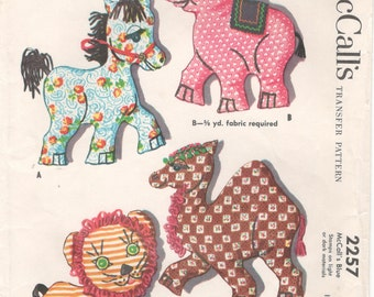 McCalls 2257 1950s Large Stuffed Animals Transfer Pattern Horse Elephant Lion Camel  Vintage Toys  Sewing Pattern