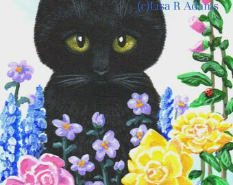 Black Cat Note Cards Roses from Orig Painting Creationarts Free Shipping