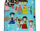 Frida Kahlo - Frida Blanket - Mexican Folk Art - Girl Blanket - Baby Blanket - Leopard - Crib Blanket - Nursery Bedding - Reversible