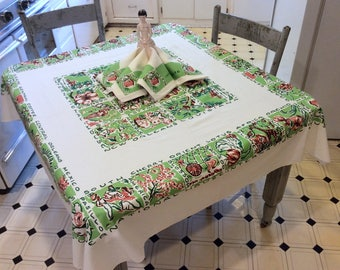 Vintage Souvenir Tablecloth & Napkins International House New Orleans Louisiana