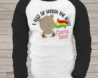 Worth the wait boy teddy bear ANY COUNTRY adoption personalized raglan shirt - adorable way to announce MADT1-001-2
