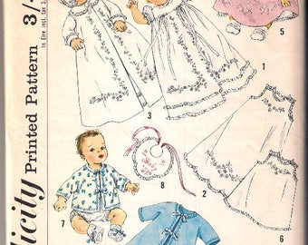 Vintage Baby Clothes Sewing Pattern - Simplicity 2823