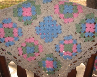 Granny Square Blanket Pink Blue Crocheted Lace Border Baby Toddler OOAK