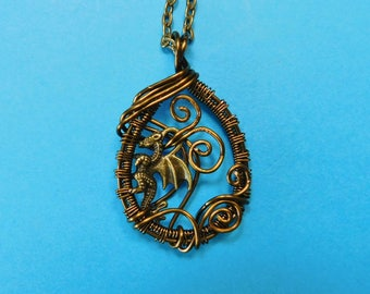 Handmade Dragon Jewelry, Unique Dragon Necklace, Dragon Necklace For Women, Wire Wrap Dragon Jewelry, Wire Wrap Dragon Necklace for Gift