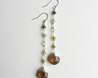 Long Tourmaline and Whiskey Quartz Earrings