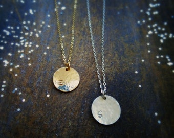 Minimal layering necklace, Personalized disc necklace, hammered initial charm, layered, simple letter charm necklace, bridesmaid gifts, otis