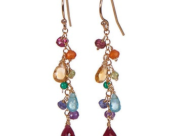 multi-gemstone ruby earrings