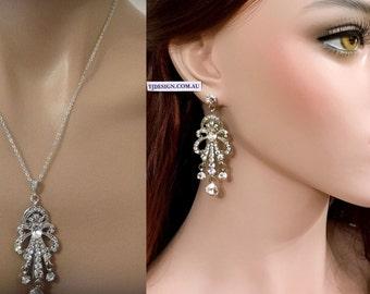Chandelier Bridal Jewelry Set, Art Deco Wedding Earrings, Swarovski Crystal Bridal Necklace, Gatsby Wedding Jewelry, Silver Jewelry CHRYSLER