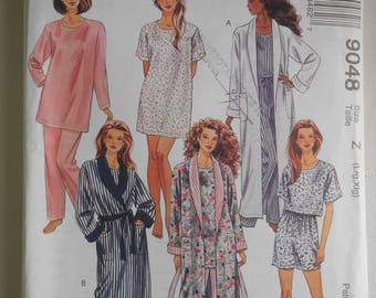 Misses Long Shawl Collar Robe, Pajamas, Tunic Top, Pants and Shorts Sewing Pattern McCalls 9048 Size 16 18 20 22 Bust 38 40 42 44 UNCUT