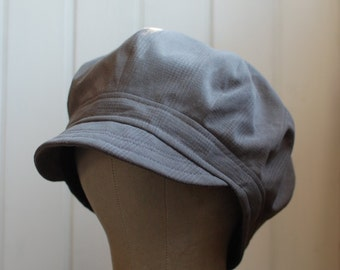 Daria XL: Newsboy cap, newsie, cloche, sun hat, slouchy hat, mens hat, womens hat, gray plaid hat, summer hat, recycled fabric, upcycled