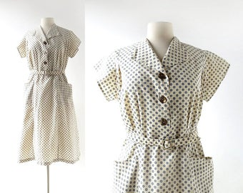 Vintage Shirtwaist Dress | Bullseye | 1960s Dress | L XL