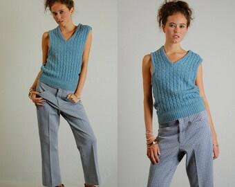 Preppy Sweater Vintage Light Blue Cable Knit Androgynous Preppy Sweater Vest (s)