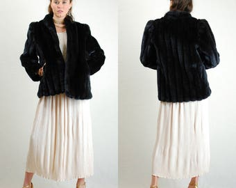 Faux Fur Jacket Vintage Plush Black Faux Vegan Rabbit Fur Urban Glam Jacket (s m)