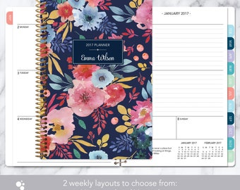 2017 planner weekly planner | 12 month calendar | add monthly tabs student planner | personalized agenda | navy blue pink watercolor floral