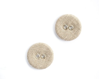 Large linen buttons - Set of two natural organic linen fabric covered buttons in vintage rustic style