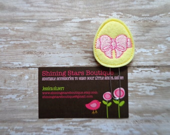 Easter Planner Clips - Light Yellow Easter Egg With A Pink Bow Felt Paperclip Or Bookmark - Accessories For Planners, Calendar, Or Books