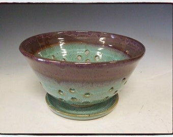 Purple / Turquoise Berry Bowl with Plate by misunrie