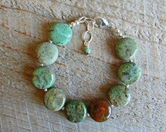 Green Opal Coins Natural Healing Gemstone Bracelet, Spring Green Brown Gemstones