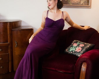1930s Vintage Gown - Stunning Purple Rayon Crepe Curve Hugging 30s Evening Gown with Draped Bust