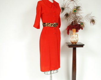 Vintage 1940s Dress - Beautiful Rich Red Rayon Late 40s Shirtwaist Dress with Pockets