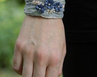 Fiber Art Bracelet, mori girl in light blue, made of silk fiber, embroidered