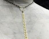 Boho Chic Brass Arrow Necklace - Trendy Jewelry - Brass Chain - Chevron Pattern