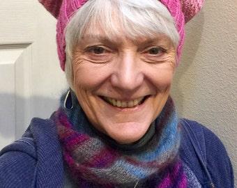 Pussyhat, handknit, wool, merino wool, alpaca, acrylic, pink hat