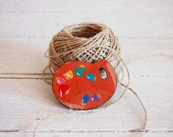 Painter palette brooch, handpainted wooden pin