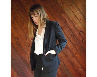 Black Fitted Button Front Blazer Jacket - Vintage 90s - XS