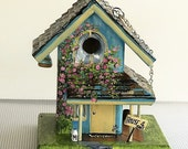 Unique Turquoise Birdhouse , with Beehive in Eaves , a For Sale Sign , Milk Bottles on Porch , with Bottom that comes off for Clean Out