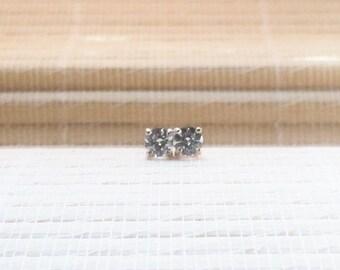 Cubic Zirconia Stud Earrings Sterling Silver April Alternate Birthstone 5 mm