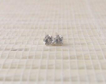 White Topaz Stud Earrings Sterling Silver 2mm April Birthstone
