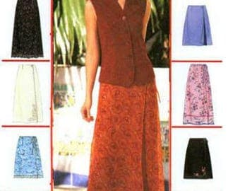 WRAP SKIRT Sewing Pattern ~ Summer Skirts Two Lengths 3 Sizes Uncut OOP