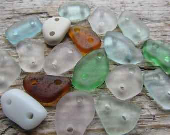 Small Beach Glass CONNECTORS Sea Glass Connectors Beads