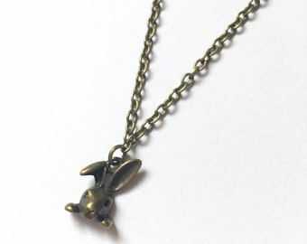 Little Bunny Necklace, Small Rabbit, Antique Bronze Rabbit, Simple Necklace, Bronze Necklace, Bunny UK, Animal Jewellery, Rabbit Jewellery