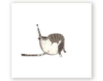Cat Bath Print - Belly Wash - Bathroom Art - Cat Mom or Cat Dad Print