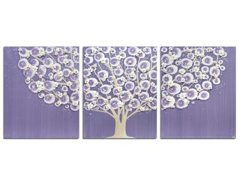 Purple Wall Art Tree Painting on Triptych Canvas - Large 50x20