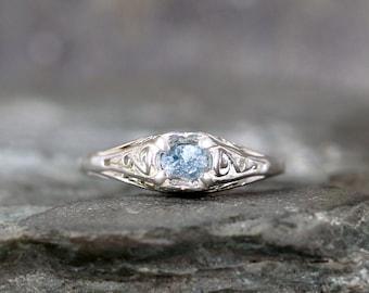 Raw Blue Diamond Engagement Ring - Antique Style Filigree - Raw Uncut Rough Diamond - Sterling Silver Filigree Ring  - April Birthstone