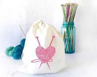 Drawstring Bag -Pink Heart Bag- Yarn Storage- Travel Knitting Bag- Gifts for Knitters- Knitting Project Bag- Shawl Knitting- Sock Knitting