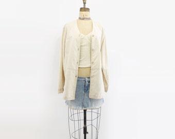 80s Linen Jacket Bone White Linen 80s Vintage Jacket 80s Oversize Jacket Minimalist Jacket 80s Safari Jacket Linen Shirt oversize s, m to l