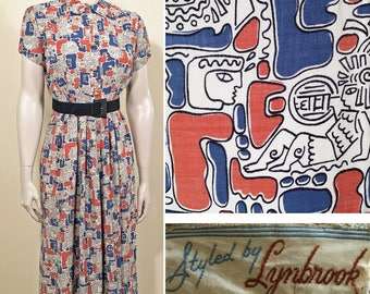 1940s Blue, White and Rust Rayon Novelty Aztec Print Vintage Dress SZ S/M