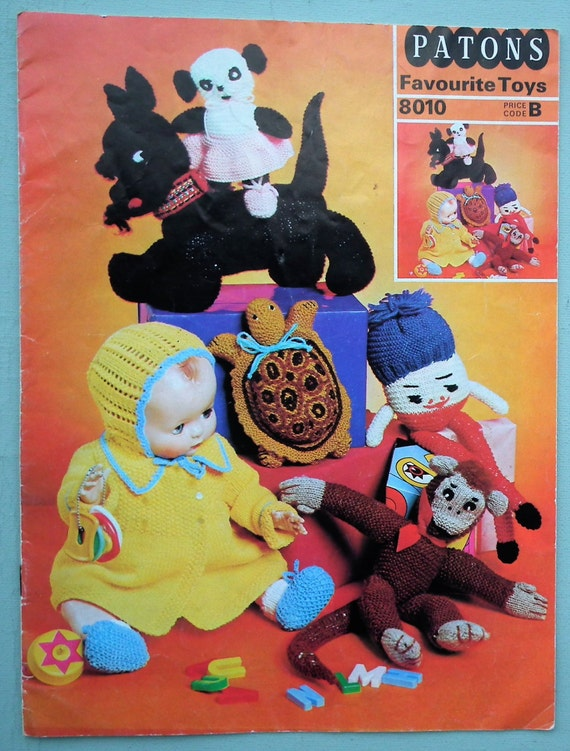 Patons Knitting Patterns Toys : Patons Favourite Toys Booklet Vintage 1960s 1970s Knitting ...