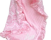 Personalized Pink Damask Minky Blanket for a Baby Girl, Embroidered Minky Blanket