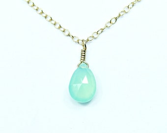 Green gemstone necklace - teardrop necklace - chrysoprase necklace - chalcedony jewelry - dainty gold necklace - bridesmaid jewelry raindrop