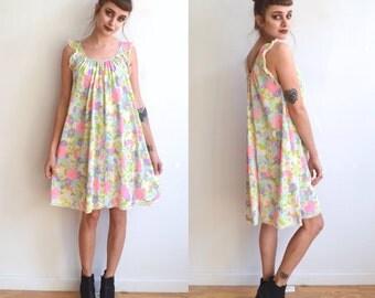 Vintage 60's Bright Floral Baby Doll Nightie/ Floral Mini Dress/ Medium
