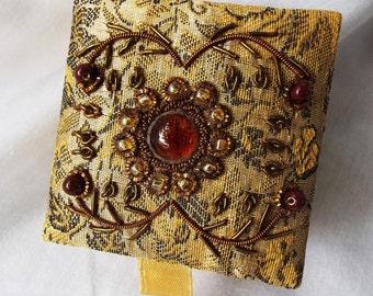 Vintage Indian Boho Beaded Satin Box