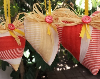 Lavender sachet set, fabric ornaments, heart ornaments, aromatherapy, home decor, air fresheners, christmas ornaments, hostess gifts