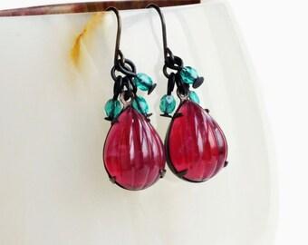 Pink Aqua Glass Dangle Earrings Vintage Ribbed Glass Drops Raspberry Pink Beaded Earrings