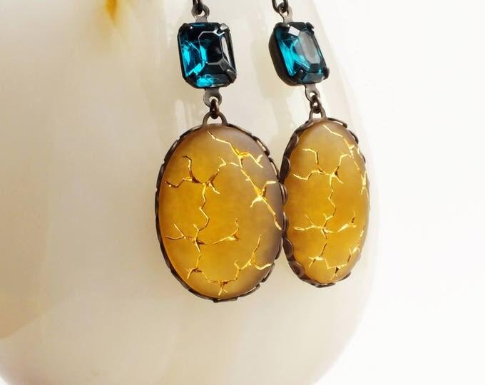 Frosted Glass Earrings Vintage Topaz Earrings Yellow Gold Crackle Earrings Matte Glass Statement Jewelry Topaz Emerald
